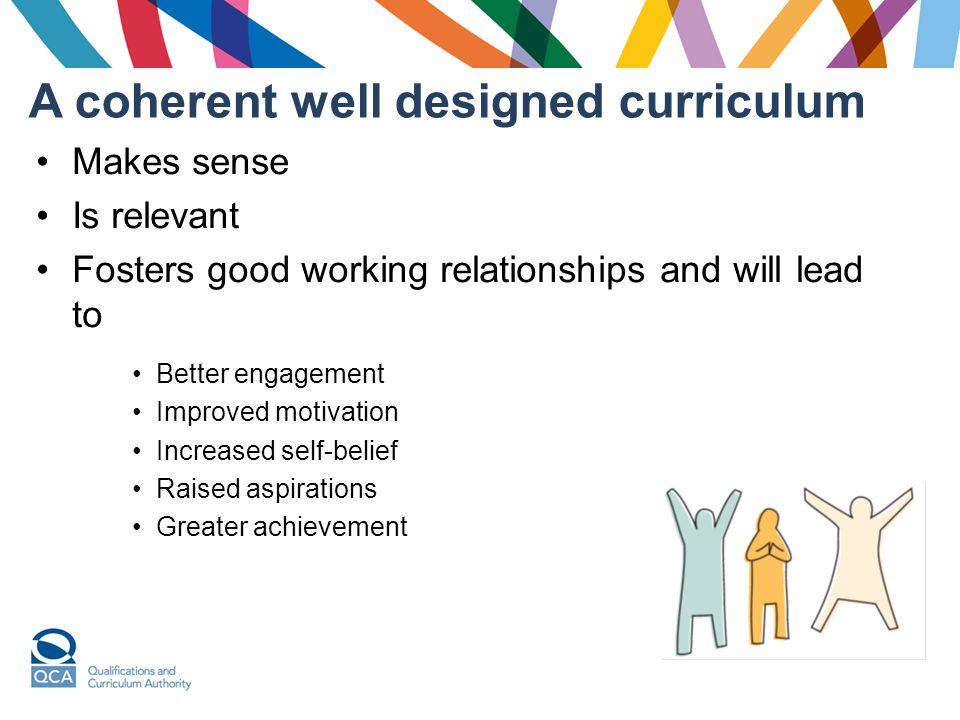 A coherent well designed curriculum Makes sense Is relevant Fosters good working relationships and will lead to Better engagement Improved motivation Increased self-belief Raised aspirations Greater achievement