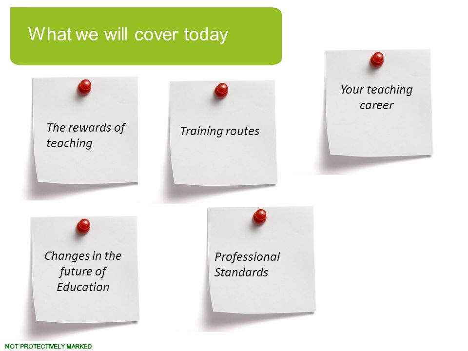 NOT PROTECTIVELY MARKED The rewards of teaching Changes in the future of Education Professional Standards Training routes Your teaching career What we will cover today