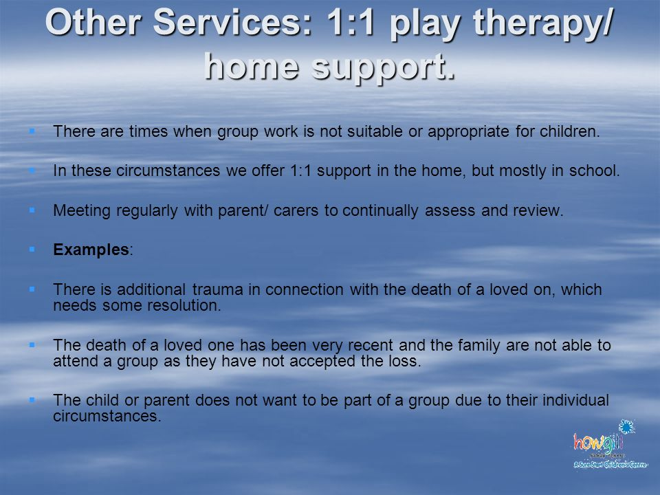 Other Services: 1:1 play therapy/ home support.