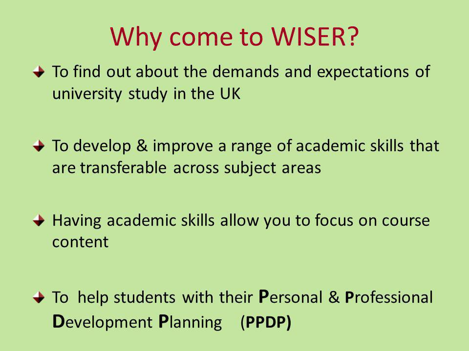 Why come to WISER.