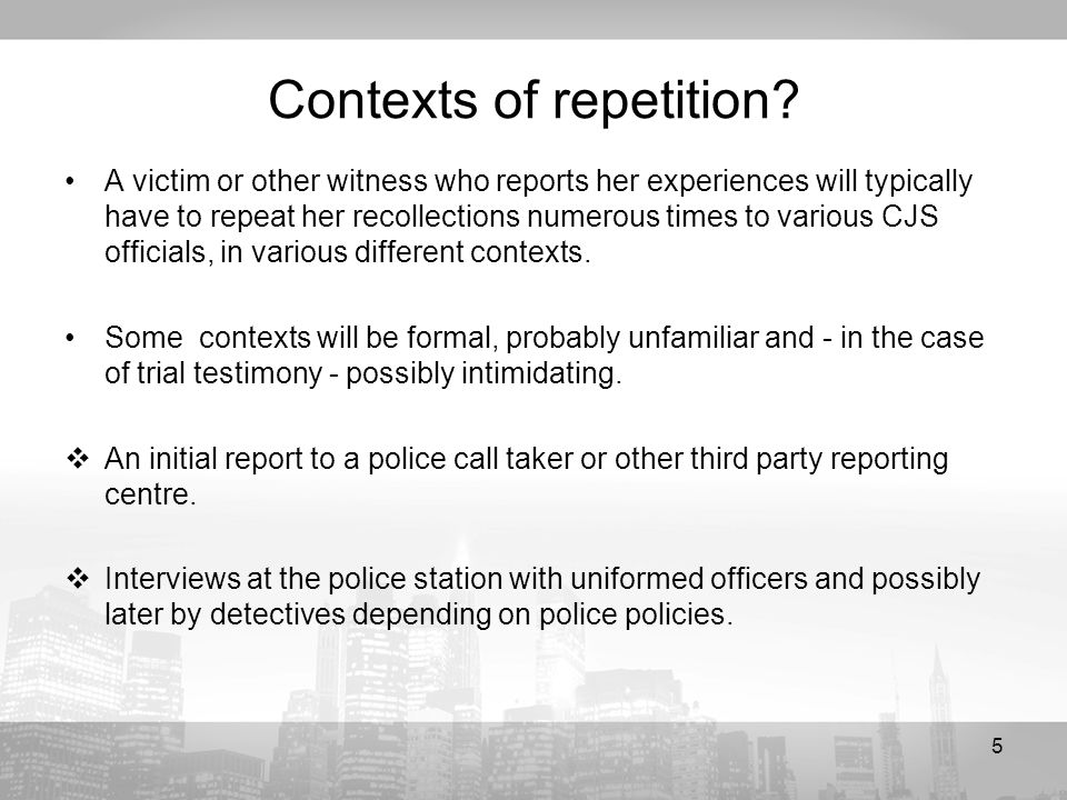 5 Contexts of repetition.