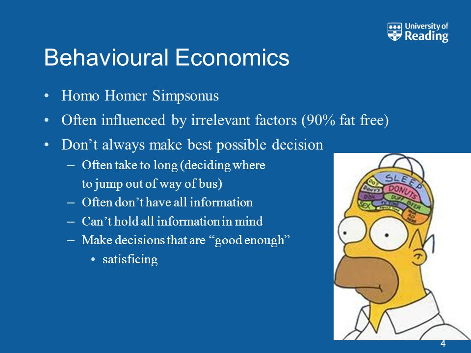 Behavioural Economics Homo Homer Simpsonus Often influenced by irrelevant factors (90% fat free) Dont always make best possible decision –Often take t