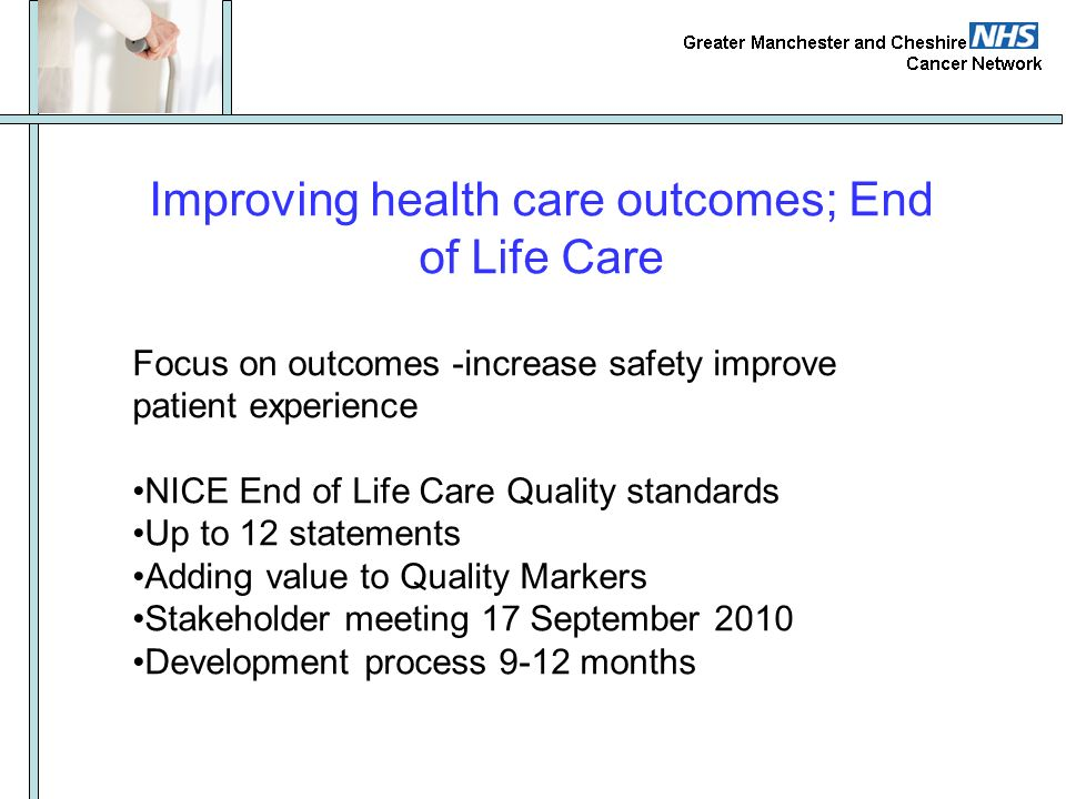 Improving health care outcomes; End of Life Care Focus on outcomes -increase safety improve patient experience NICE End of Life Care Quality standards