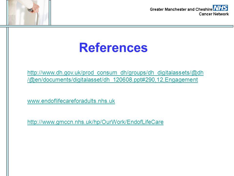References http://www.dh.gov.uk/prod_consum_dh/groups/dh_digitalassets/@dh /@en/documents/digitalasset/dh_120608.ppt#290,12,Engagement www.endoflifeca
