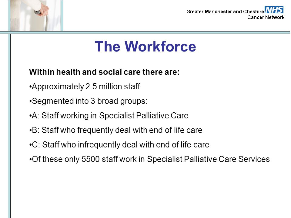 The Workforce Within health and social care there are: Approximately 2.5 million staff Segmented into 3 broad groups: A: Staff working in Specialist P
