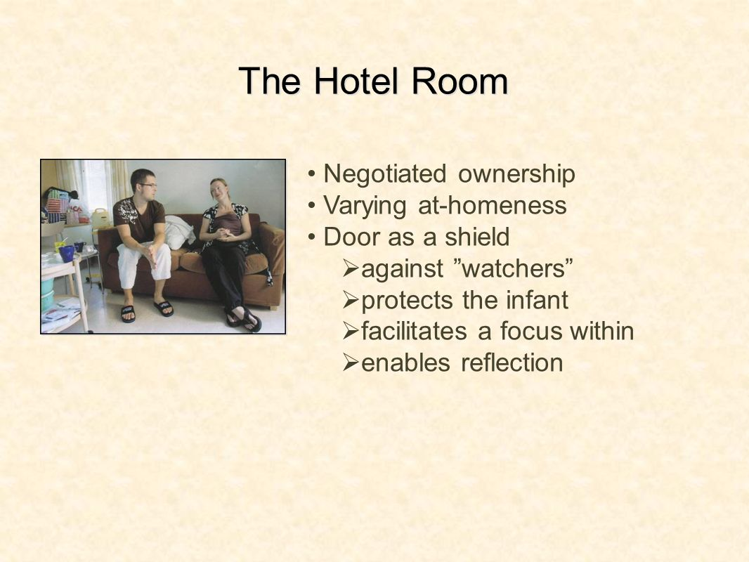 The Hotel Room Negotiated ownership Varying at-homeness Door as a shield against watchers protects the infant facilitates a focus within enables reflection
