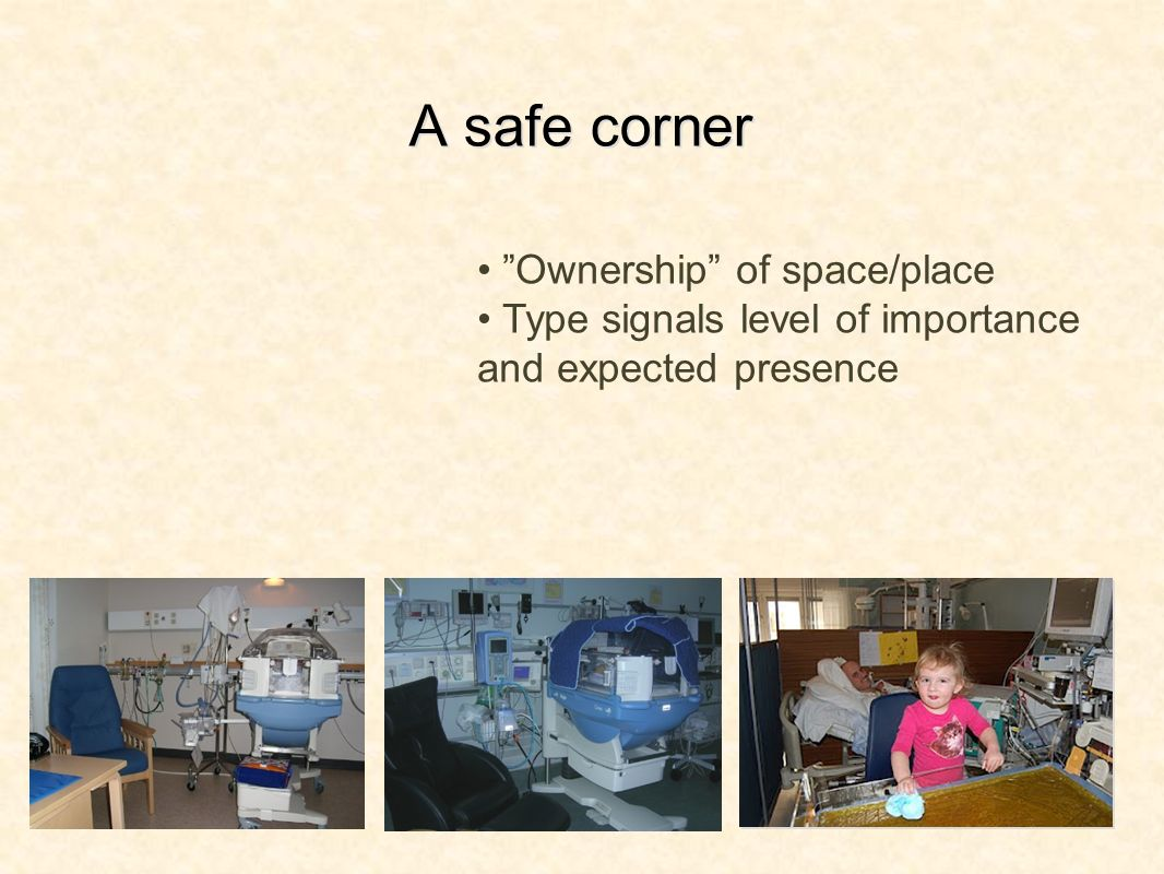 A safe corner Ownership of space/place Type signals level of importance and expected presence