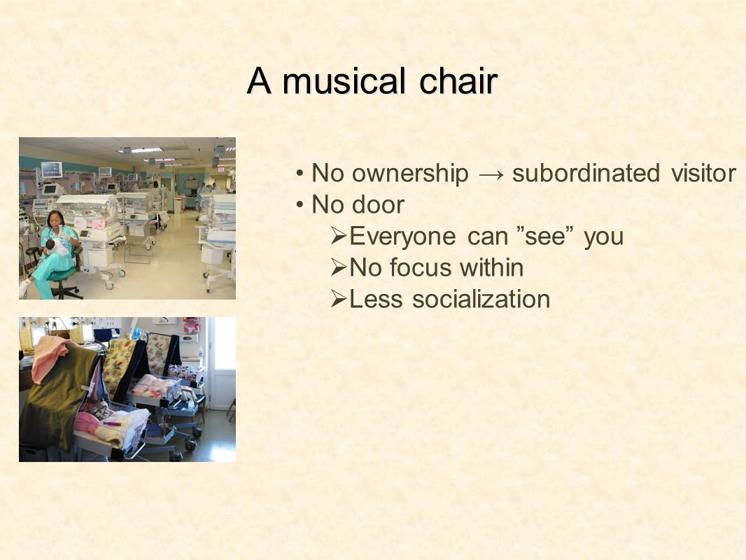 A musical chair No ownership subordinated visitor No door Everyone can see you No focus within Less socialization
