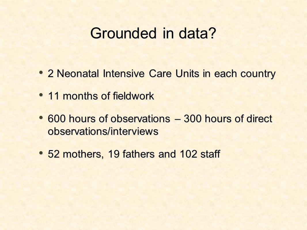 Grounded in data? 2 Neonatal Intensive Care Units in each country 11 months of fieldwork 600 hours of observations – 300 hours of direct observations/