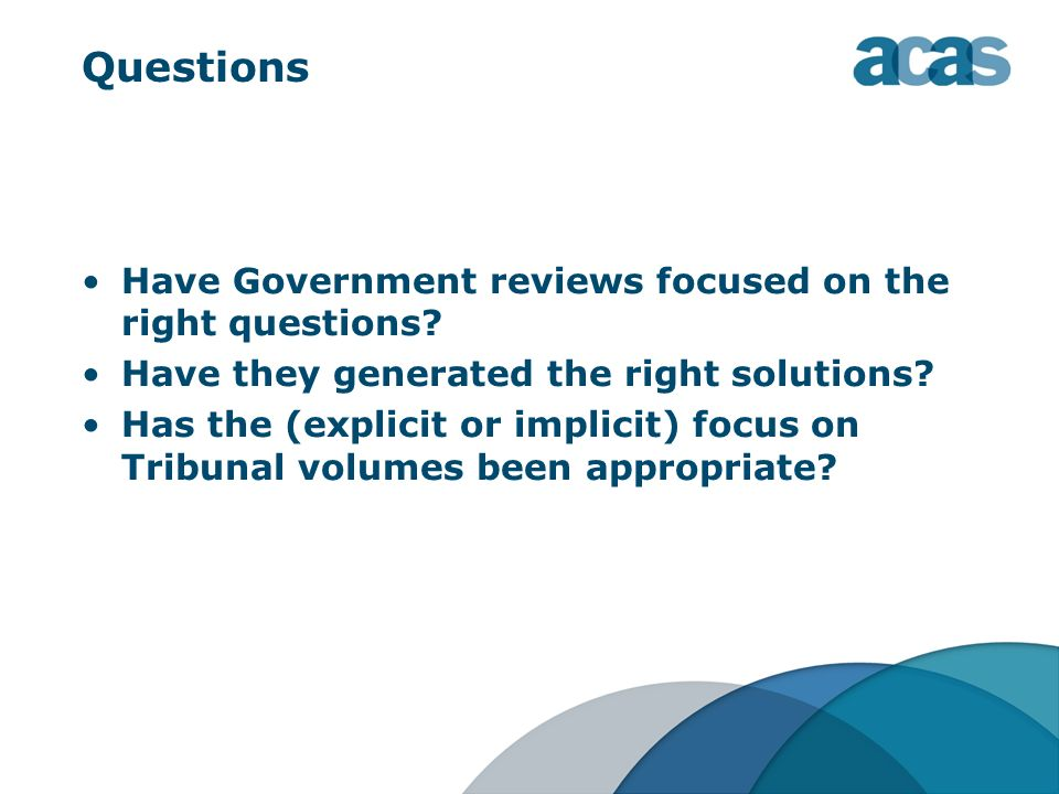 Questions Have Government reviews focused on the right questions? Have they generated the right solutions? Has the (explicit or implicit) focus on Tri