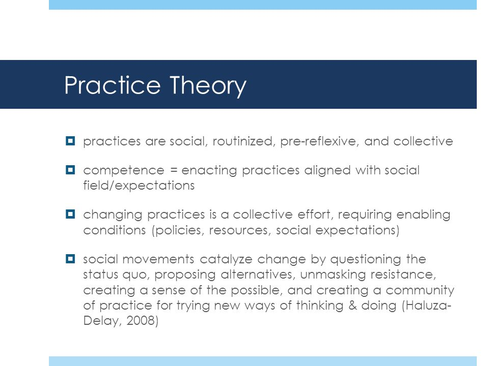 Practice Theory practices are social, routinized, pre-reflexive, and collective competence = enacting practices aligned with social field/expectations