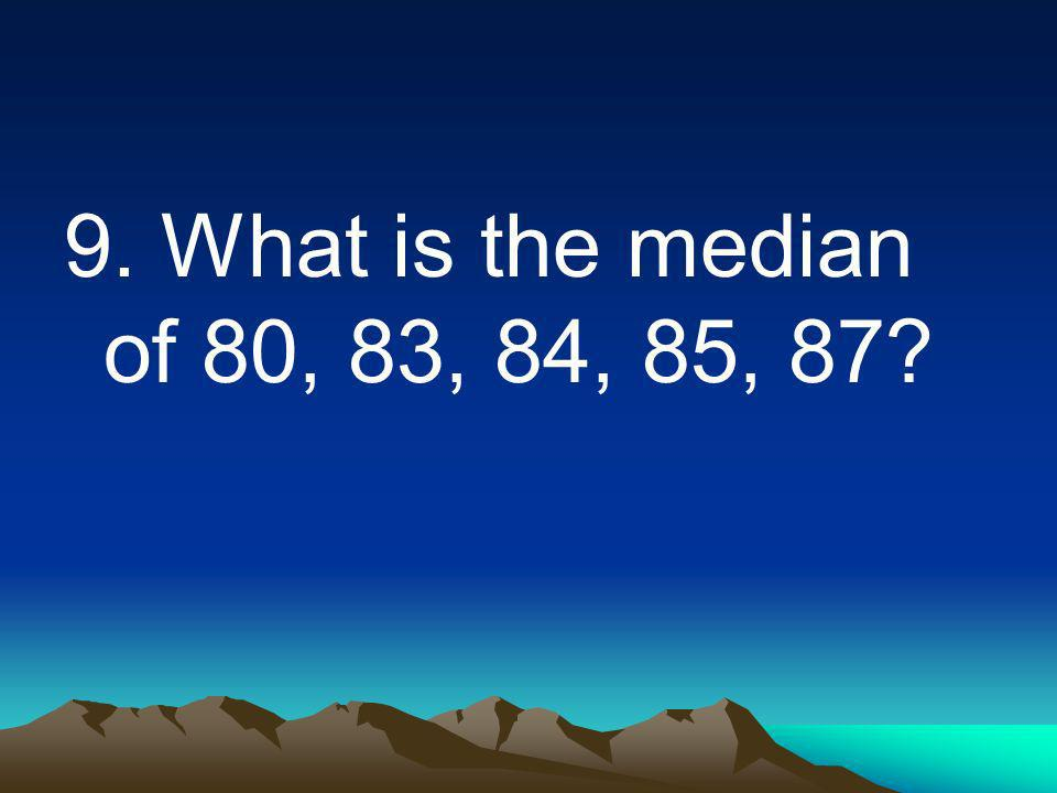 9. What is the median of 80, 83, 84, 85, 87