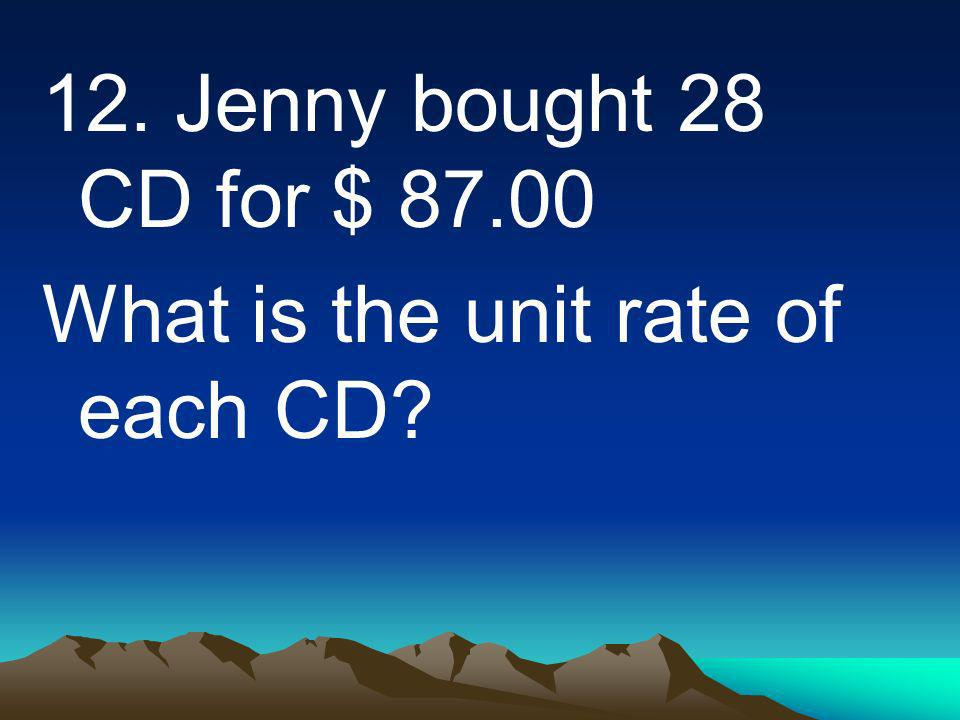 12. Jenny bought 28 CD for $ 87.00 What is the unit rate of each CD