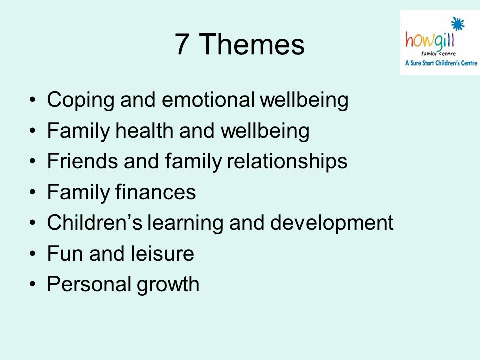 7 Themes Coping and emotional wellbeing Family health and wellbeing Friends and family relationships Family finances Childrens learning and developmen