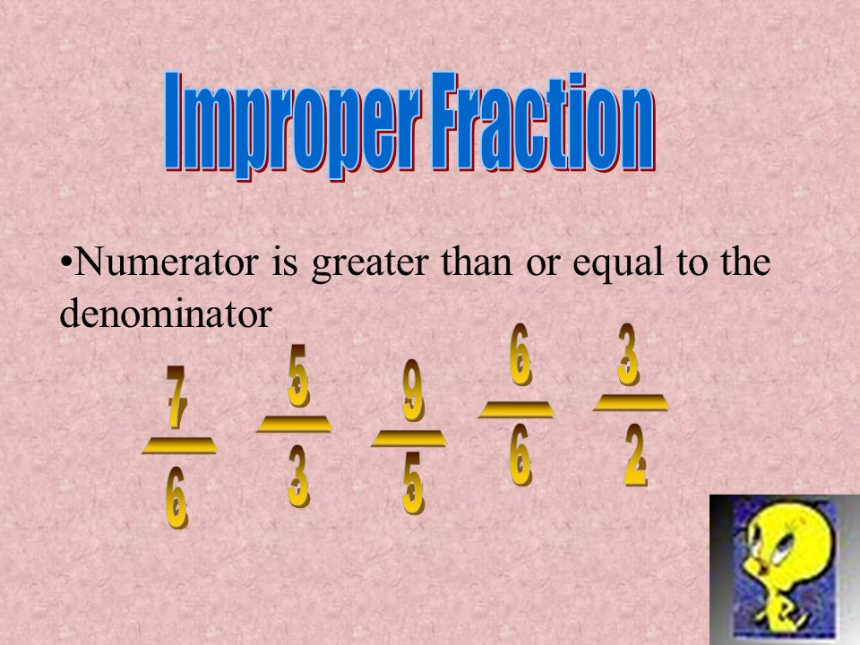 Numerator is less than the denominator