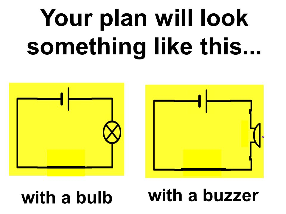 Your plan will look something like this... with a bulb with a buzzer