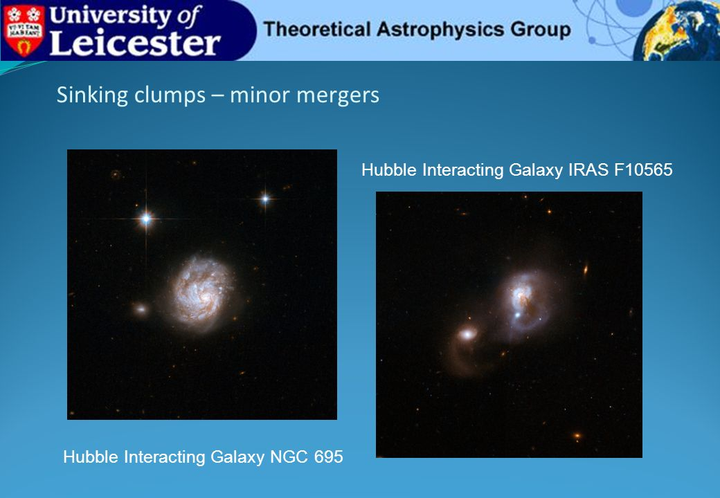 Sinking clumps – minor mergers Hubble Interacting Galaxy NGC 695 Hubble Interacting Galaxy IRAS F10565