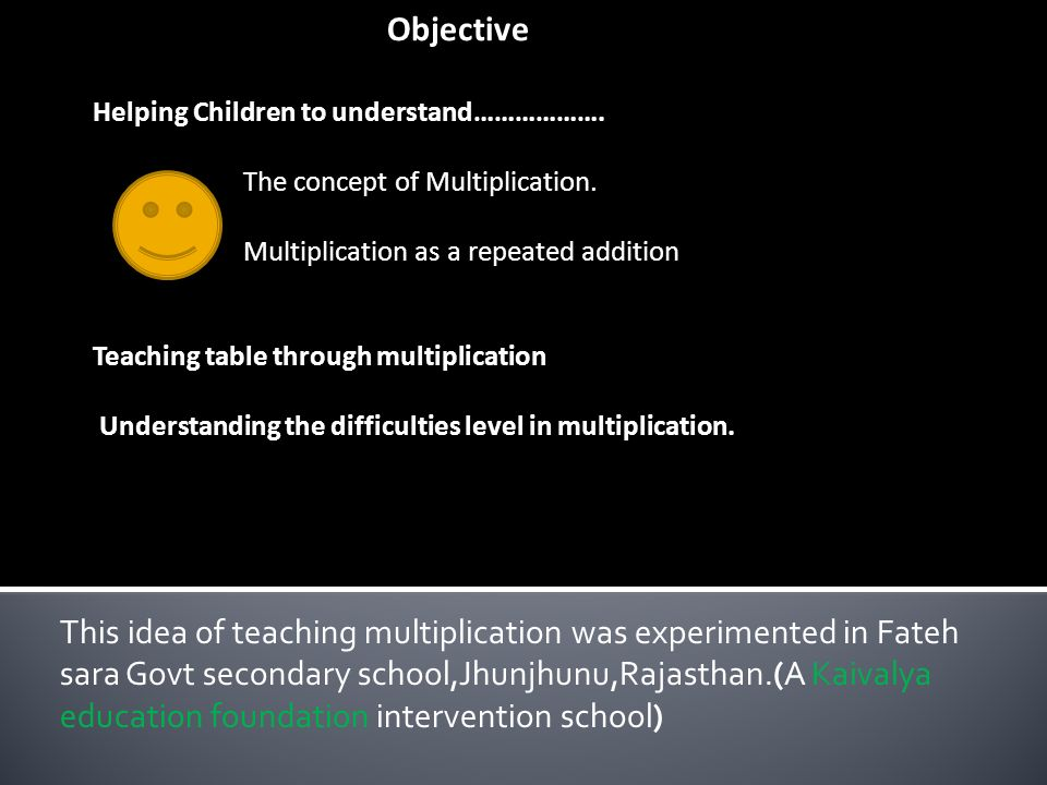 Objective Helping Children to understand………………. The concept of Multiplication.