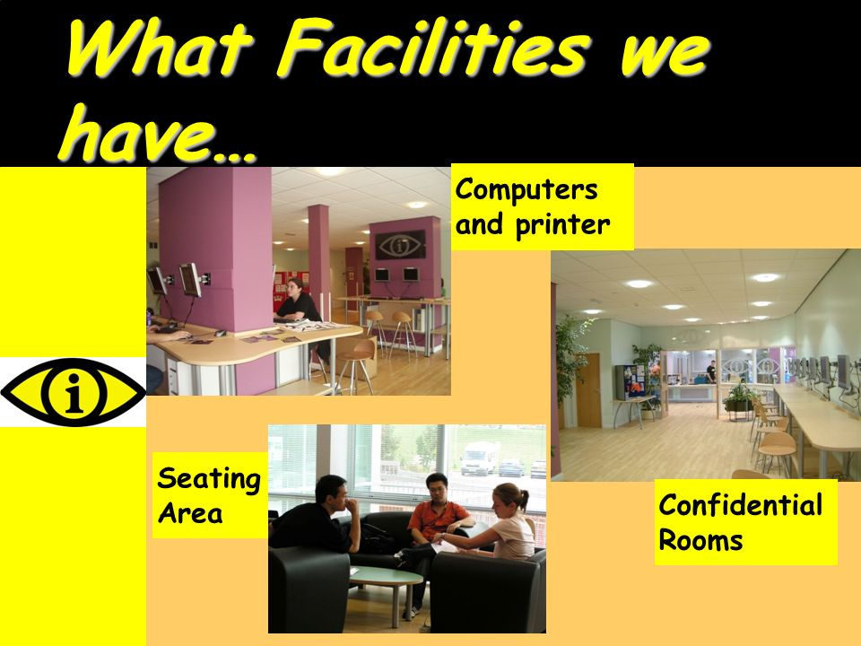 What Facilities we have… Computersand printer SeatingArea ConfidentialRooms