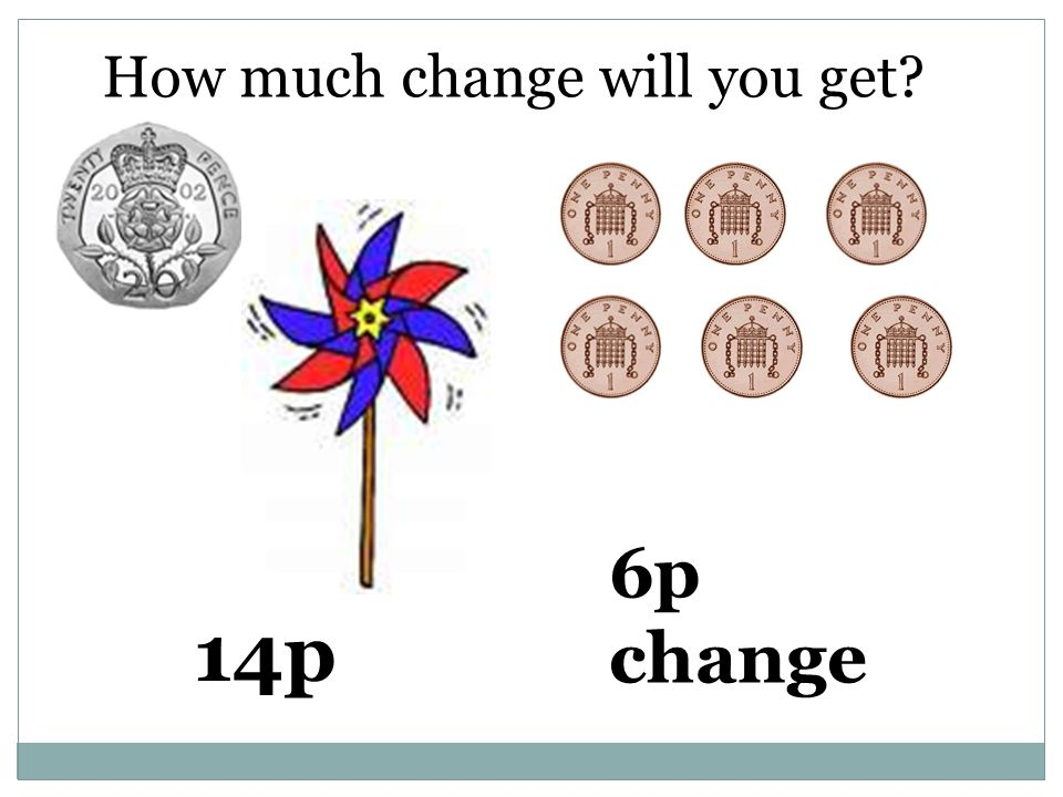 How much change will you get 14p 6p change