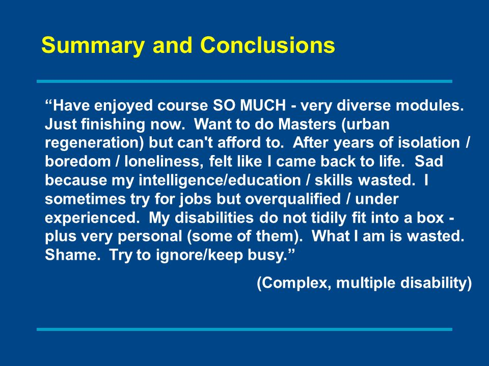 Have enjoyed course SO MUCH - very diverse modules.