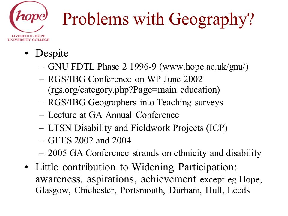 Problems with Geography? Despite –GNU FDTL Phase 2 1996-9 (www.hope.ac.uk/gnu/) –RGS/IBG Conference on WP June 2002 (rgs.org/category.php?Page=main ed