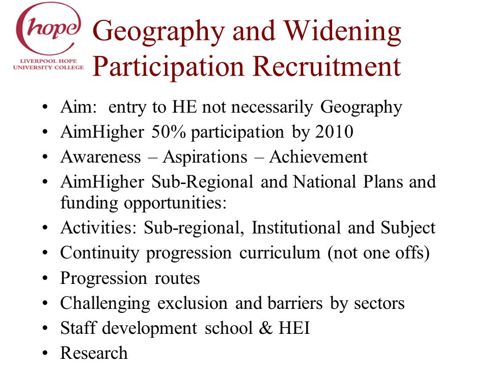 Geography and Widening Participation Recruitment Aim: entry to HE not necessarily Geography AimHigher 50% participation by 2010 Awareness – Aspiration