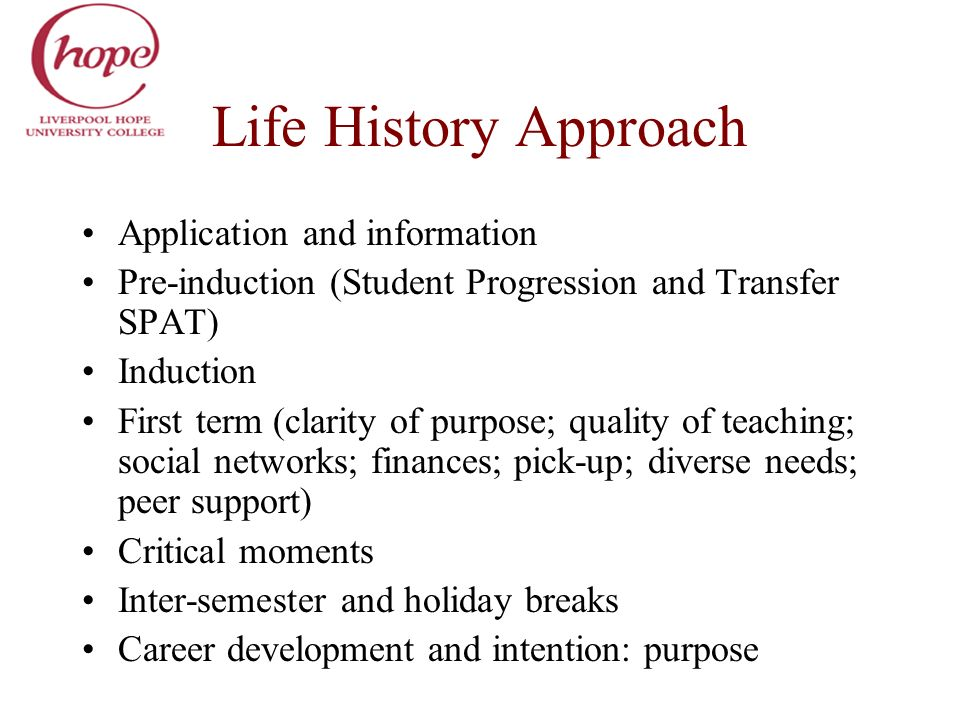 Life History Approach Application and information Pre-induction (Student Progression and Transfer SPAT) Induction First term (clarity of purpose; qual