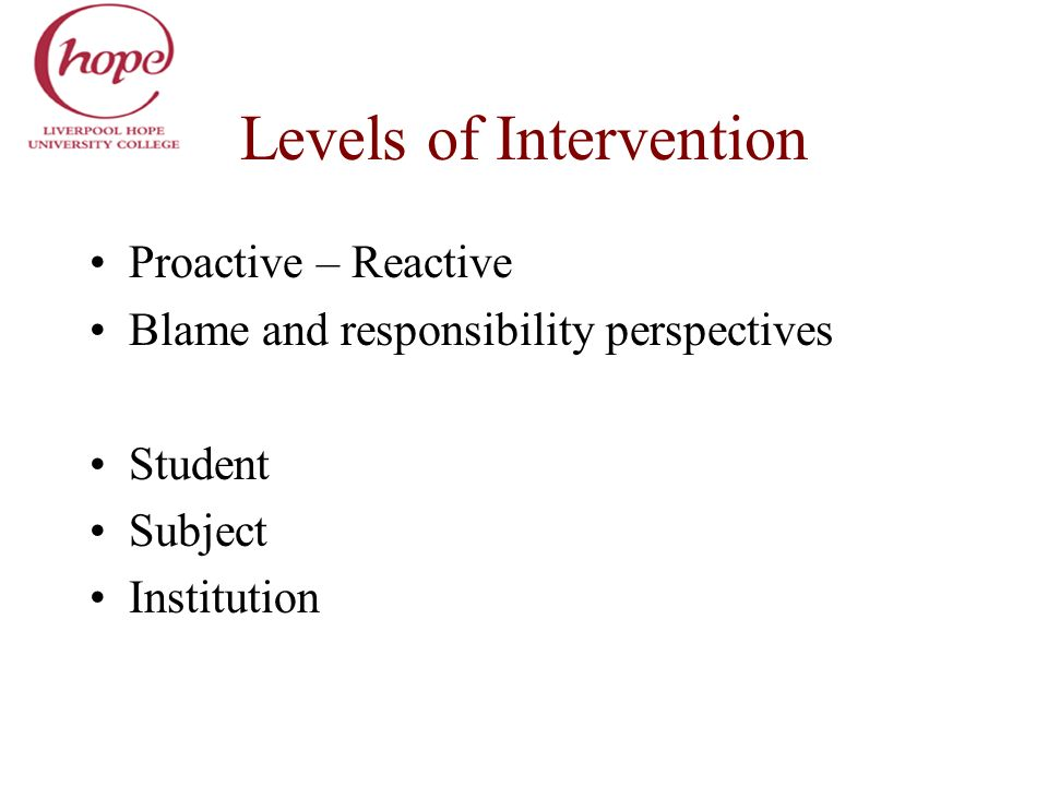 Levels of Intervention Proactive – Reactive Blame and responsibility perspectives Student Subject Institution