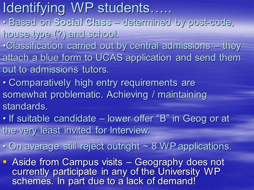 Identifying WP students…..