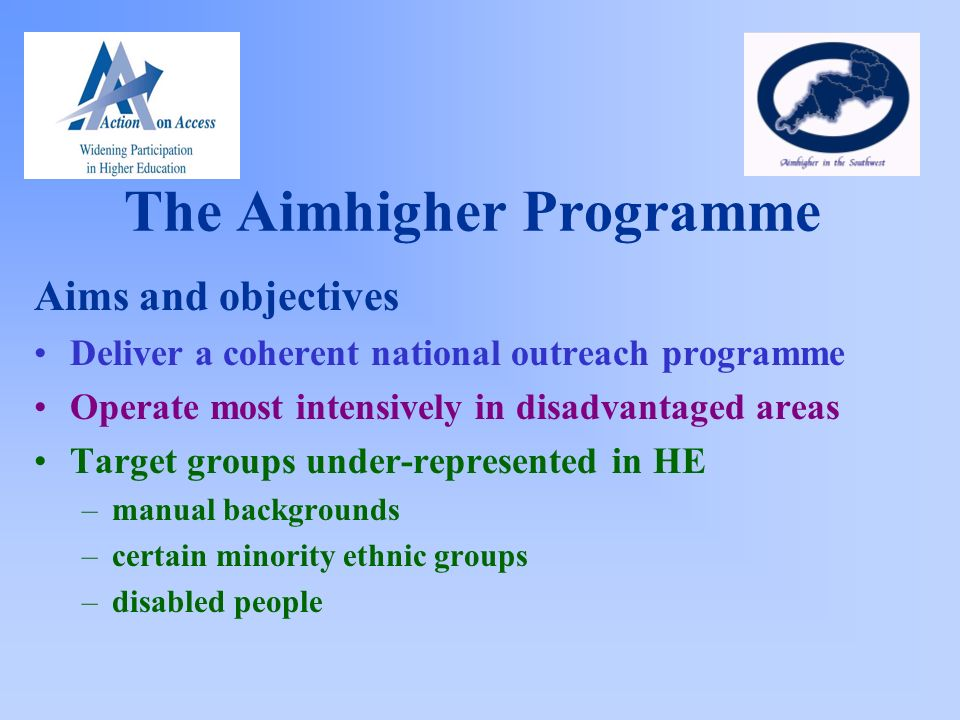The Aimhigher Programme Aims and objectives Deliver a coherent national outreach programme Operate most intensively in disadvantaged areas Target groups under-represented in HE –manual backgrounds –certain minority ethnic groups –disabled people
