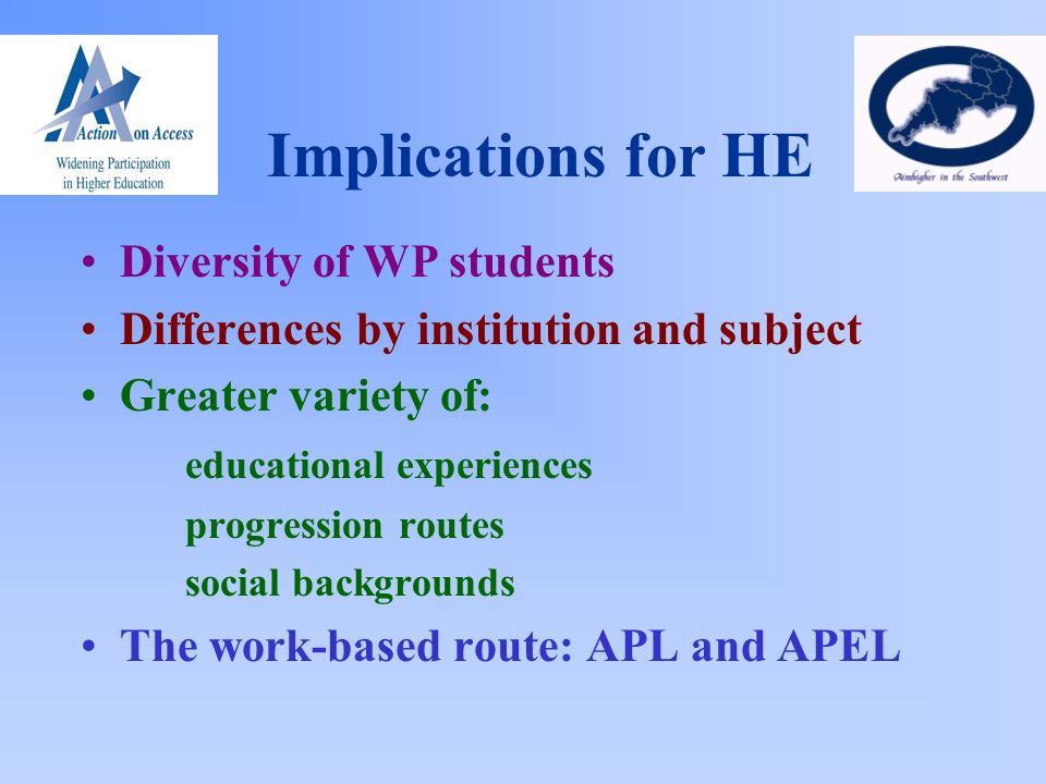Implications for HE Diversity of WP students Differences by institution and subject Greater variety of: educational experiences progression routes social backgrounds The work-based route: APL and APEL