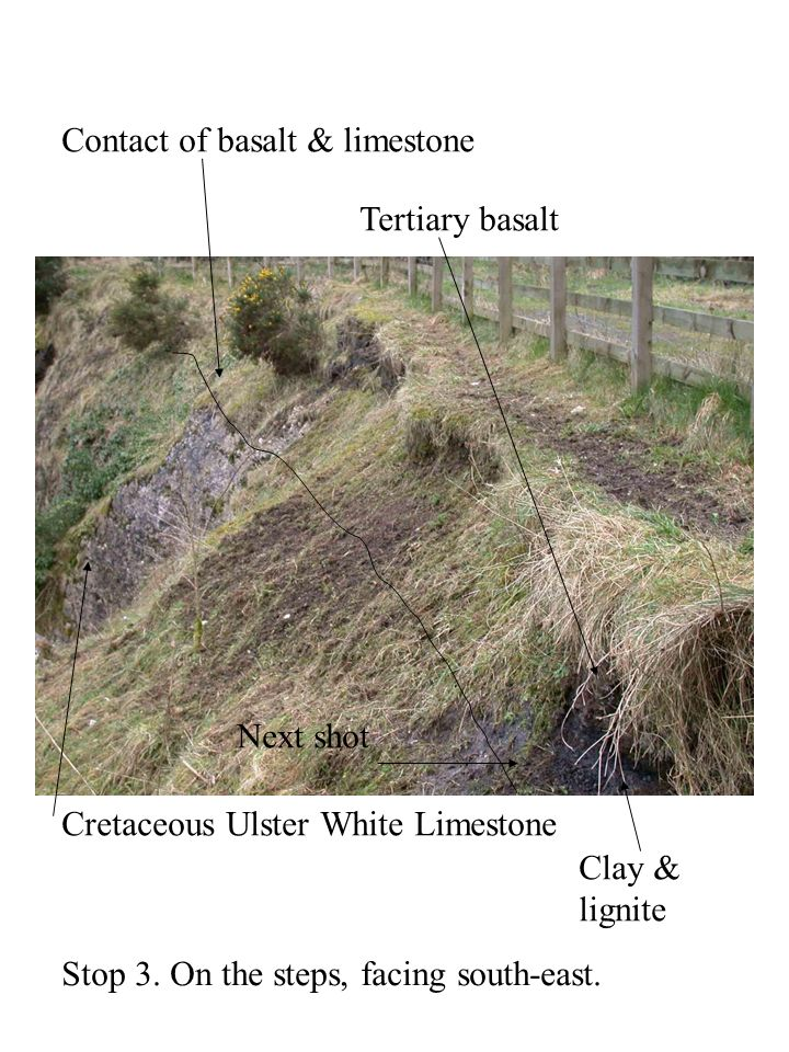 Location 2: under fault plane, unconformity between Triassic Mercia Mudstone and Cretaceous Ulster White Limestone