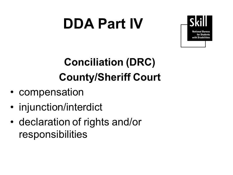 DDA Part IV Conciliation (DRC) County/Sheriff Court compensation injunction/interdict declaration of rights and/or responsibilities
