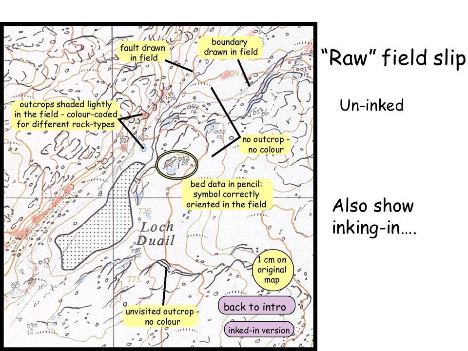 Raw field slip Un-inked Also show inking-in….