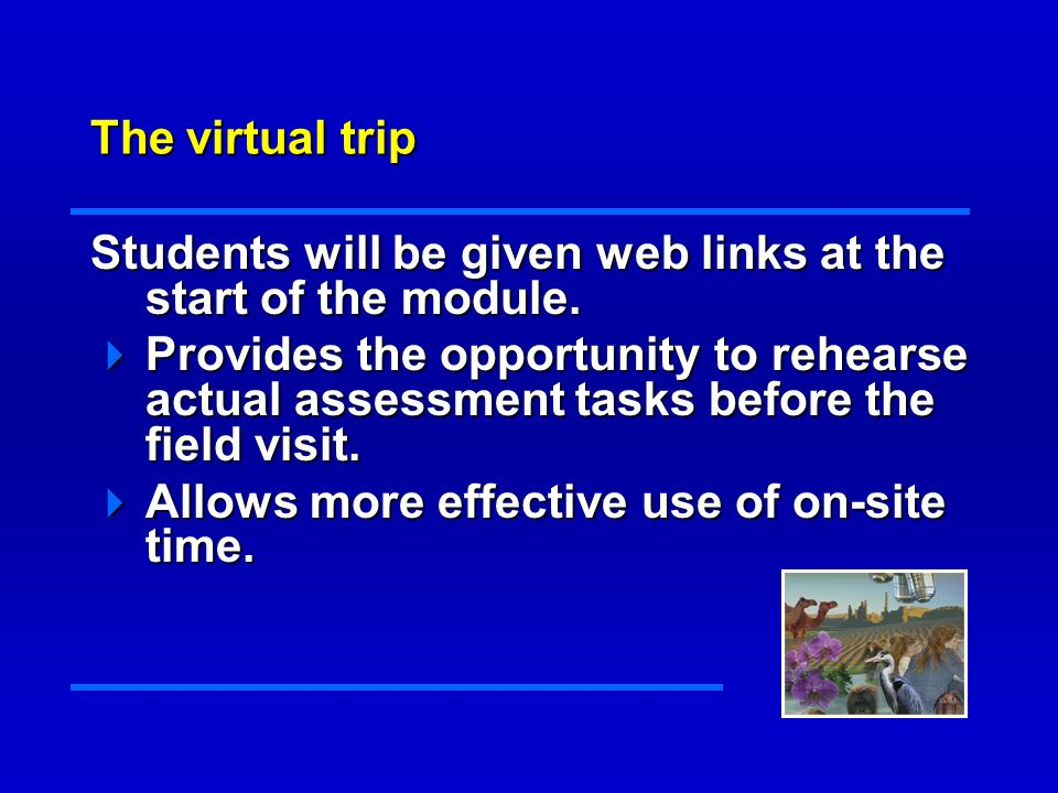 The virtual trip Students will be given web links at the start of the module.