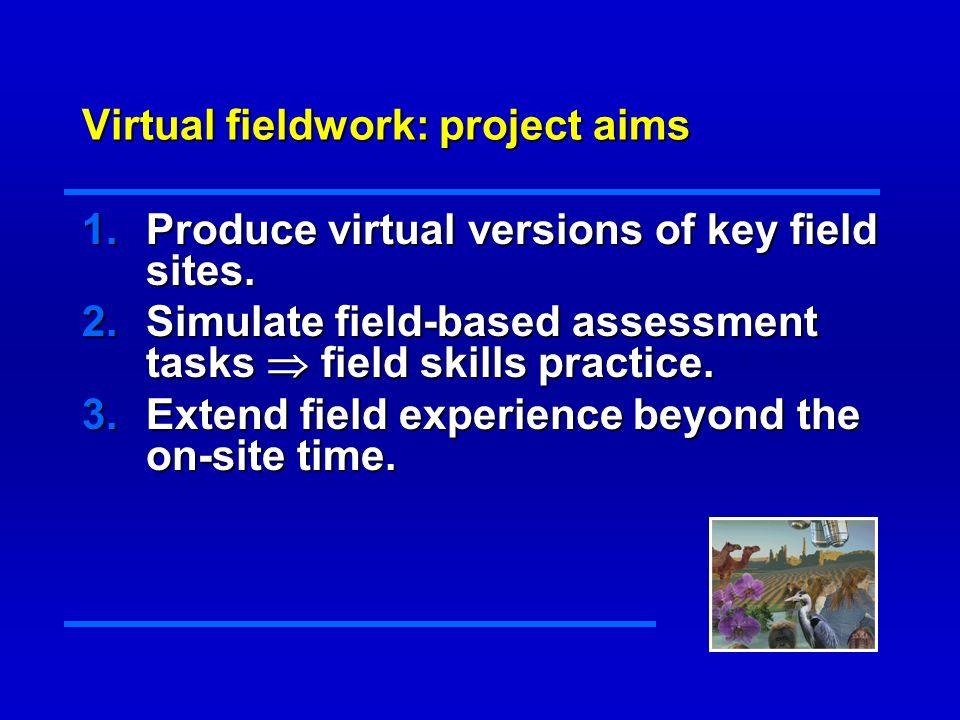 Virtual fieldwork: outcomes Virtual field experience with 24 hr on-line access.