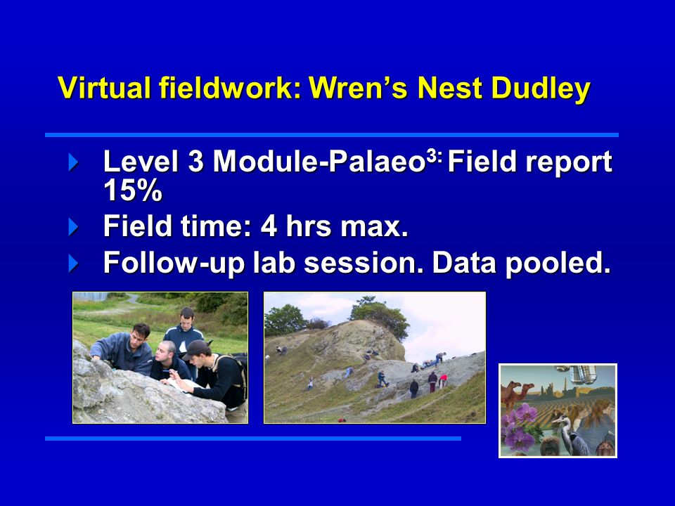 Virtual fieldwork: Wrens Nest Dudley Level 3 Module-Palaeo 3: Field report 15% Level 3 Module-Palaeo 3: Field report 15% Field time: 4 hrs max.