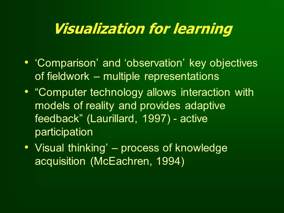 Visualization for learning Comparison and observation key objectives of fieldwork – multiple representations Computer technology allows interaction wi