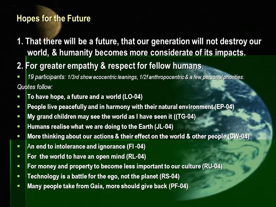Hopes for the Future 1. That there will be a future, that our generation will not destroy our world, & humanity becomes more considerate of its impact
