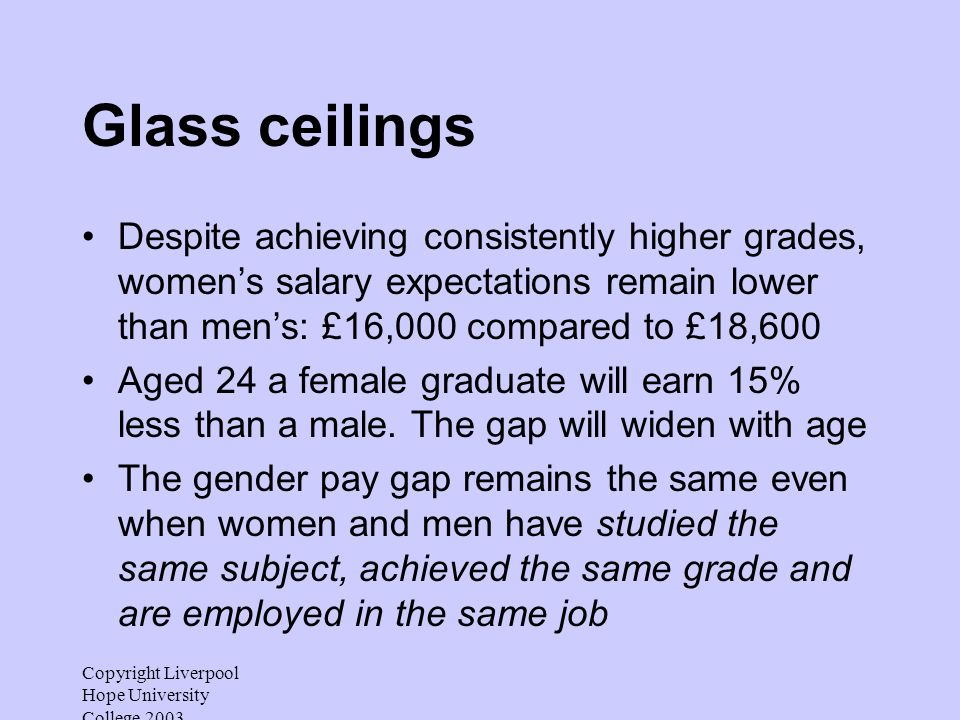 Copyright Liverpool Hope University College 2003 Glass ceilings Despite achieving consistently higher grades, womens salary expectations remain lower
