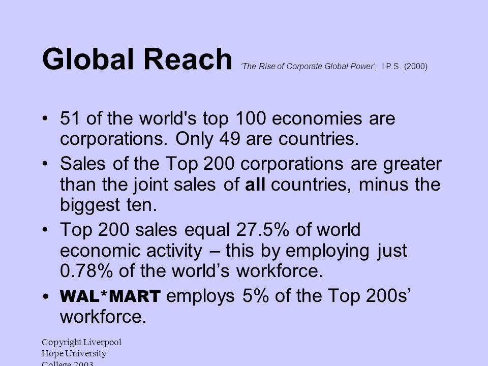 Copyright Liverpool Hope University College 2003 Global Reach The Rise of Corporate Global Power, I.P.S.