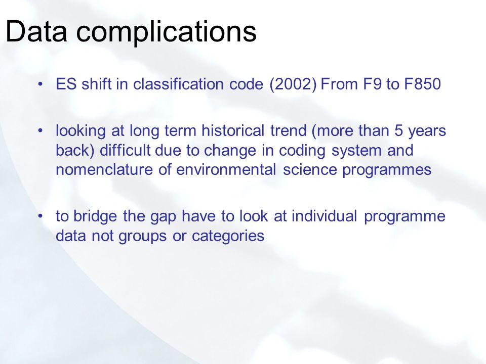 Data complications ES shift in classification code (2002) From F9 to F850 looking at long term historical trend (more than 5 years back) difficult due