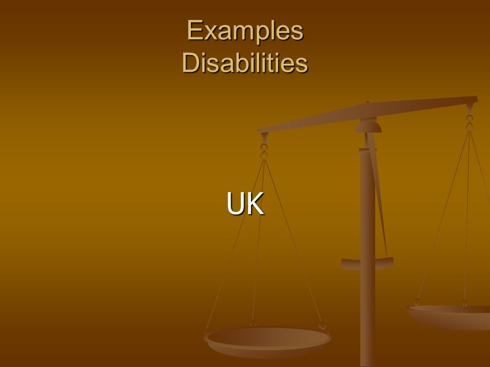 Examples Disabilities UK