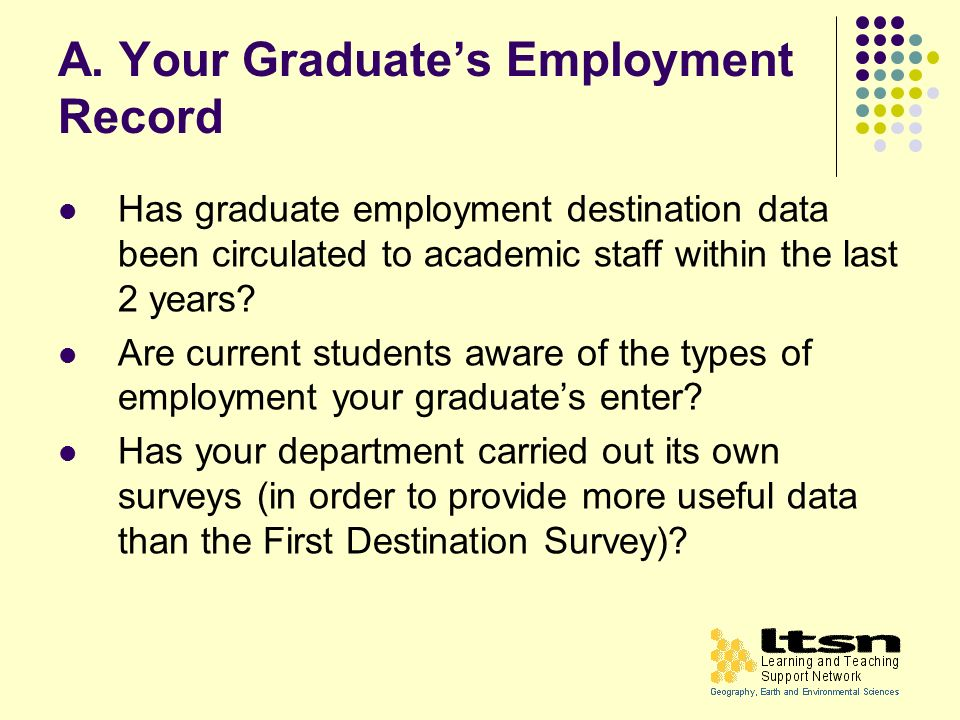 A. Your Graduates Employment Record Has graduate employment destination data been circulated to academic staff within the last 2 years? Are current st