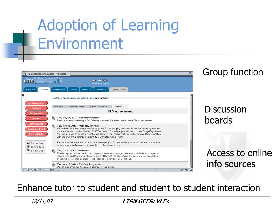 LTSN GEES: VLEs18/11/03 Implementation 100 students into groups of 10 Each group assigned a particular role Encouraged to informally assign roles themselves within their groups Discussion forums and web pages within the VLE formed basis of role-play activity