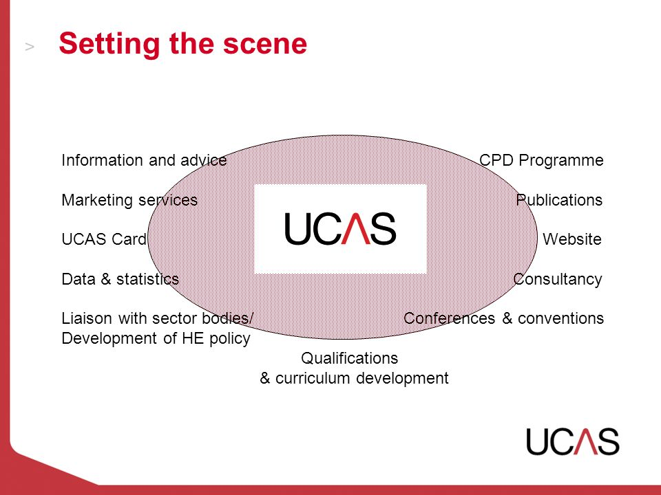 Setting the scene Information and advice CPD Programme Marketing services Publications UCAS Card Website Data & statistics Consultancy Liaison with sector bodies/ Conferences & conventions Development of HE policy Qualifications & curriculum development