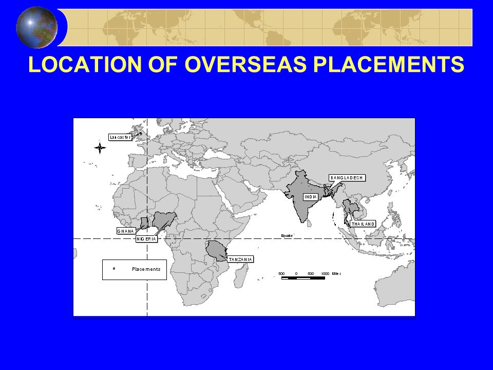LOCATION OF OVERSEAS PLACEMENTS