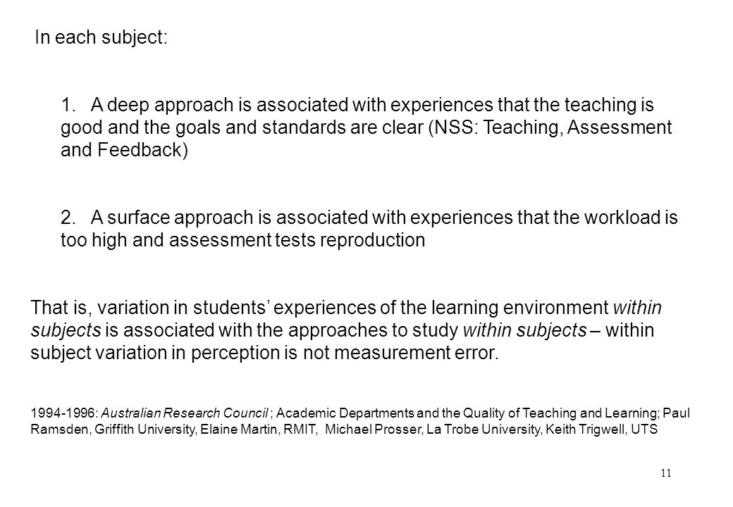 11 In each subject: 1. A deep approach is associated with experiences that the teaching is good and the goals and standards are clear (NSS: Teaching,