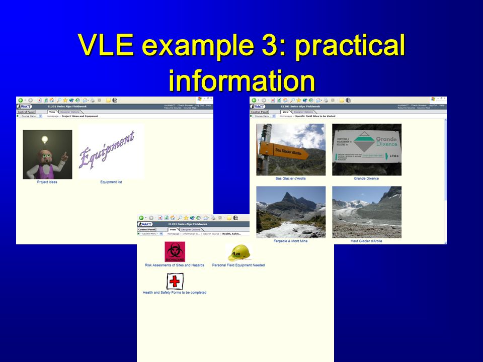 VLE example 3: practical information